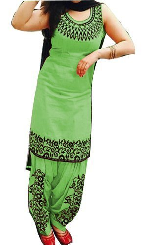 Cotton Embroidered Green Unstitched Patiala Suit