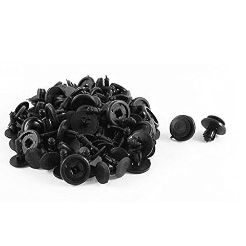 50 Pcs plastique noir Splash Guard Moulding Bumper Clips 8mm x 13mm x 20mm