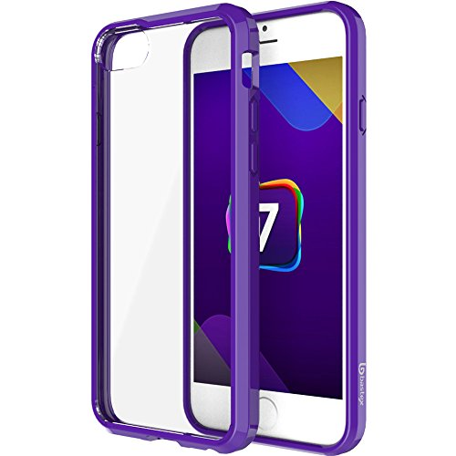 iPhone 7Fall, Bastex Soft Slim Fit Flexible Transparent Gummi-Back Cover Auch TPU Lila Seite Bumper für Apple iPhone 7 (Boost Mobile Telefone Lila)