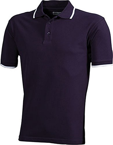 Polo Tipping (S - 3XL) aubergine/white