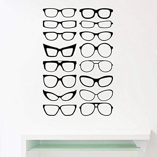 Ayhuir Brillen Specs Frames Vinyl Wandaufkleber, Brillen Frames Art Decals Optisch Shop Optiker Büro Fenster Tür Dekor 86X56 Cm