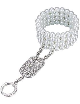 BABEYOND Damen Ring Armband Set Retro 1920er Party Verbundene Ring und Perlen Armband Damen Great Gatsby Accessoires...