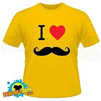 Mens i love mustache movember t shirt, Sunflower, Large