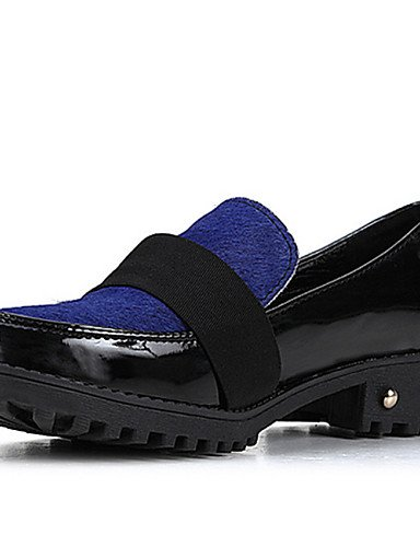 ZQ Scarpe Donna - Mocassini - Casual - Punta arrotondata - Quadrato - Finta pelle - Nero / Blu , blue-us8 / eu39 / uk6 / cn39 , blue-us8 / eu39 / uk6 / cn39 black-us5.5 / eu36 / uk3.5 / cn35