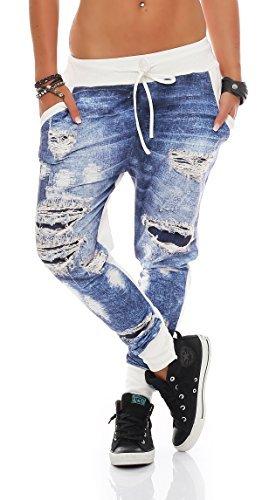 ZARMEXX Mujer Jogpants estampado vaquero Aspecto Usado Pantalón chándal Jogger Pantalones informales Talla Única - algodón, blanco, 50% algodón 50% poliéster, mujer, talla única: 36-40