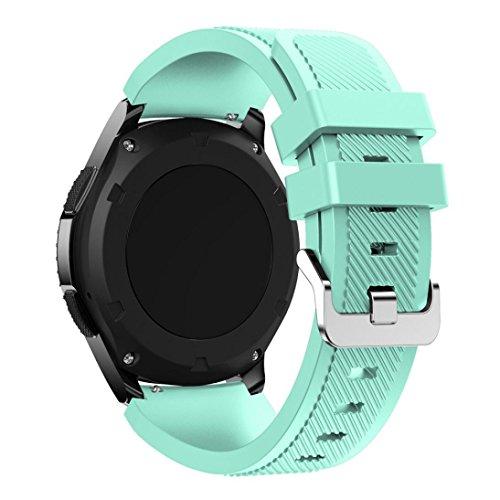 BZLine® Sportif Silicone Bracelet de Remplacement avec Fermeture(Blocage Double)de Boucle Aiguille pour Samsung Gear S3 Frontier, Menthe verte