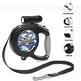 WIVION Einziehbare Hundeleine, Hundeleine 8m Einziehbare Hundeleine mit 9 Abnehmbarer LED-Taschenlampe für mittelgroße Hundenacht (Camouflage Blue)