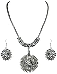 Waama Jewels Designer Silver Plated Pendant/Necklace Set For Women/Girls
