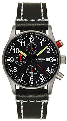 Astroavia Herren-Armbanduhr Chronograph Quarz mit Leder Armband N97L3