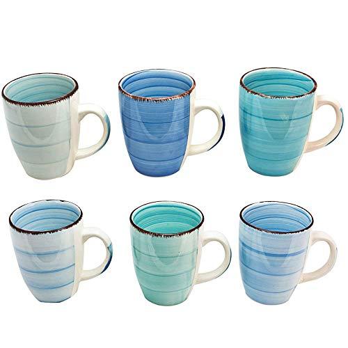 esto24 Design 6er Set Kaffeebecher Porzellan 350ml in tollen Farben für Ihr liebstes Heißgetränk für Kaffee, Cappuccino und Latte Macchiato (Blau Töne) Frühstück Becher-set