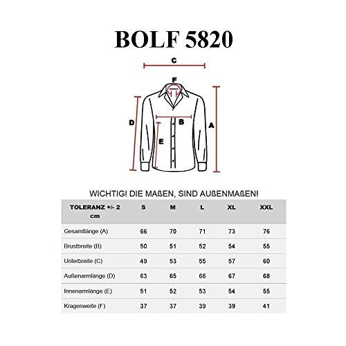 BOLF Herren Langarm Herrenhemd Figurbetont Freizeit Slim 5820 Schwarz