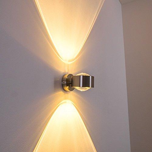 Für Die Glasschirm Leuchten (Wandlampe geradlinig - Effektlampe mit zwei gegenüberliegenden Licht-Kegeln - verchromte Metall-Leuchte für das Wohnzimmer - das Esszimmer oder die Küche mit hochwertigem Glas-Schirm)