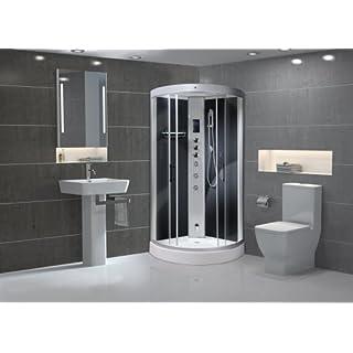 AquaLusso Carbon Black Alto 900mm Quadrant Steam Shower Cabin