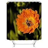 SonMo Duschvorhang Polyester Bunt Biene Blumen Frühling Wasserdicht Anti Bakteriell Anti-Schimmel Badewanne Vorhänge mit Duschvorhangringen Blickdicht 3D Digitaldruck Als Trennwand 120X180CM