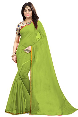 SilverStar Cotton Silk Saree With Blouse Piece (Matka Jaqcared_Green_Free Size)