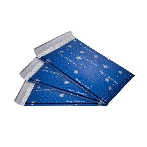 SIGEL GB106 Weihnachts-Luftpolstertaschen, 3 Stück, circa C4, Silberdruck, blau
