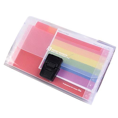 YANG CUIYAN-ER Mini A6 Ordner, 13 Fächer Rainbow Expanding Folder Accordion Document Organizer Erweiterbare Dokumentenmappe für Büro und Schule - Akkordeon-datei Monatlich