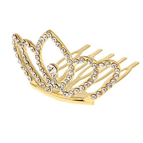 Tiara Haarschmuck mit Kamm für Mädchen Geburtstag, aus Kupfer und Strass - Gold ()