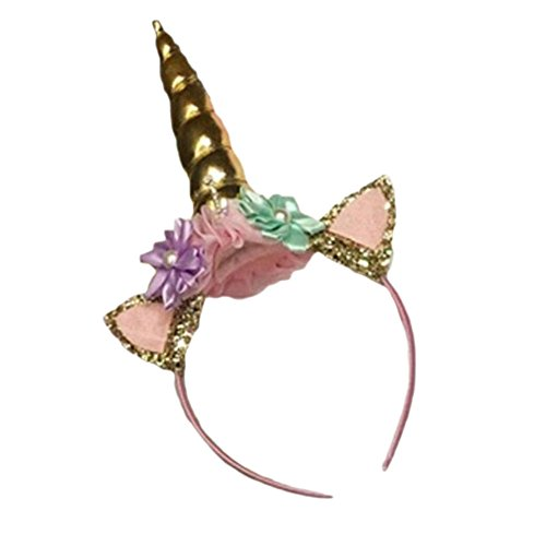 Blue Vessel Einhorn Horn Kopf Party Kid Haar Stirnband Fancy Dress Cosplay Dekorativ (Gold)
