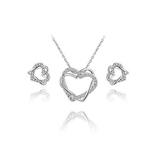 Hypoallergen Fashion Fashion Set Modeschmuck Platinum Double Heart Ohrringe + Halskette Zweiteilige Set , Platin Platin-hochzeit-sets Für Frauen
