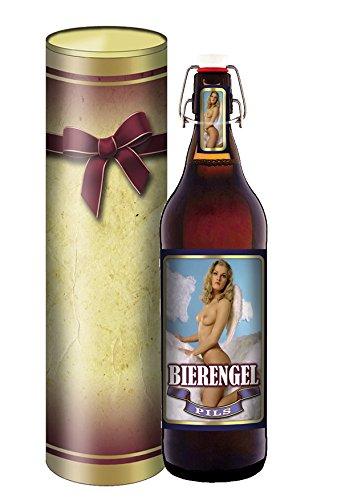 Bier Engel - 1 Liter Flasche mit Bügelverschluss in der Geschenkdose im Schleifendesign
