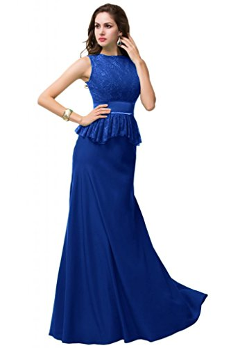Sunvary Traumhaft Neu 2015 Rund Chiffon Spitze Abendkleid Lang Ballkleid Royalblau