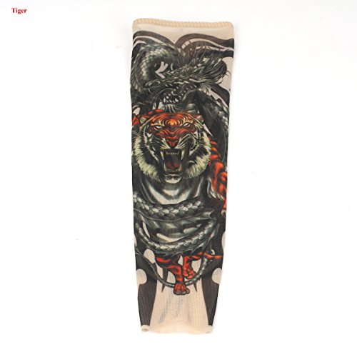 Tattooärmel, VOSO 2 Stk Tattoo Ärmel Tattooärmel Tattoosleeve Skin Tattoowiert Stulpe Kostüm Halloween Strümpfe Kinder (Tiger)