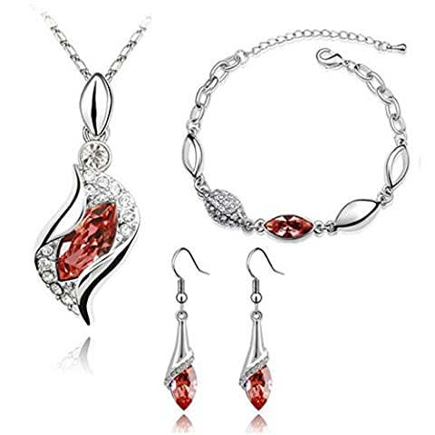 Necklace Earrings Bracelet Set,Clode®1Set Elegant Women Clothing Decoration Mother's Day New Gifts Elegant Luxury Design New Fashion Plated Colorful Crystal Drop Jewelry Sets