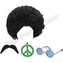 Hippie Hippy Man 1970s Afro Wig Sunglasses Moustache Fancy Dress by Blue Planet Online