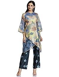 AL - Indian Luxury Women's Chiffon Asymmetrical Hemline Salwar Suit Set