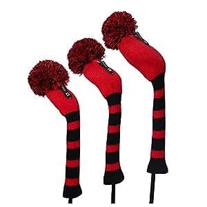 Vintage club de golf avec pompon Lot de 3 couvre-bois pour driver, bois de Parcours, 1 hybride, noir et rouge big à rayures Style, doux, lavables, anti-bouloches et anti-rides, visage Cou Long