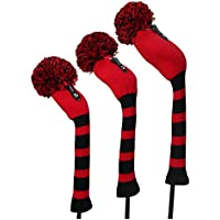 Red Color Big Black Stripes Knit Golf Headcover, Set of 3 for Driver Wood(460cc) Fairway Wood and Hybrid/UT
