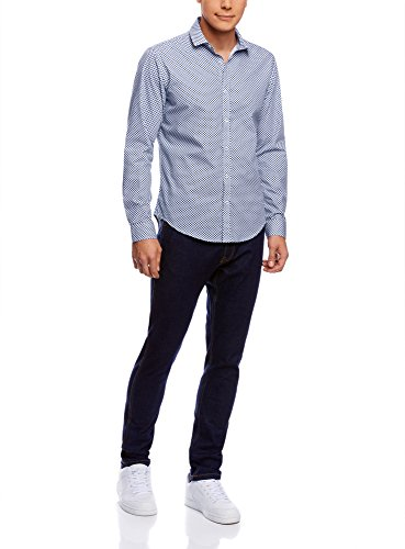 oodji Ultra Uomo Camicia Stampata Aderente Blu (7010C)