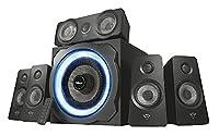 Trust Gaming 22004 GXT 658 Tytan 5.1 Gaming Surround Speaker System with Subwoofer, UK Plug, LED Illuminated, 180 W
