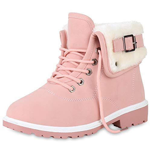 SCARPE VITA Damen Stiefeletten Worker Boots Outdoor Schuhe Schnallen Warm Gefütterte Schnürschuhe Winterschuhe Profilsohle 165387 Rosa 40