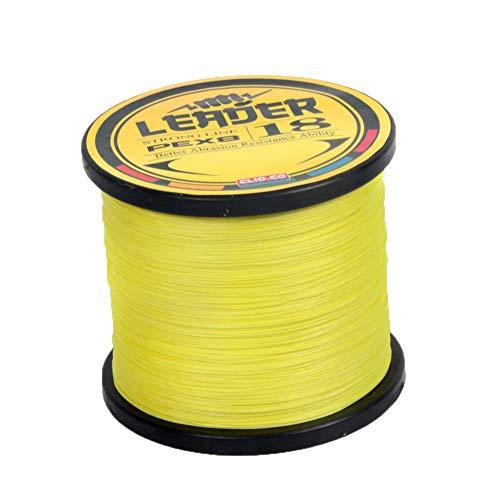 SXSHUN 8-Fach Geflochtene Premium PE Angelschnur 1000m, Fluoreszierend Gelb, 0.8 (0.14mm/8.20kg)