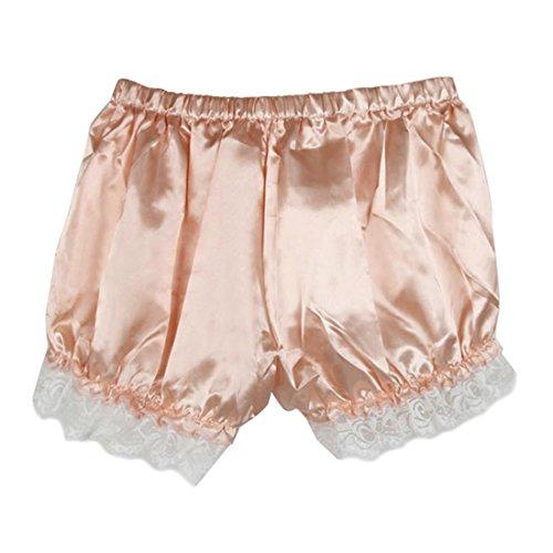 Leggings Damen, Brawdress Mädchen Vintage Bloomers Locker Spitzen Sicherheit-Hosen Shorts (One Size, Rosa) - Spitze Und Satin-hipster