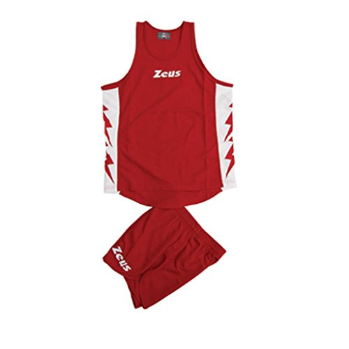 ZEUS KIT RUNNER ROSSO-BIANCO RUNNING COMPLETO COMPLETINO SPORT TORNEO PEGASHOP (M)
