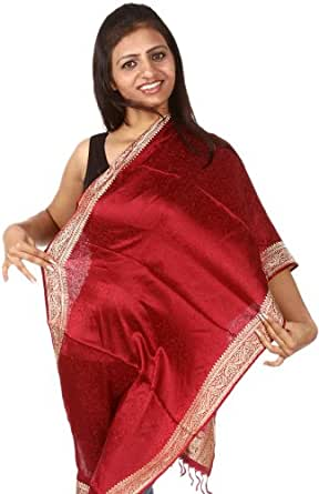 Exotic India Banarasi Stole with All-Over Tanchoi Weave and Paisley Border - Color Chili PepperColor Free Size