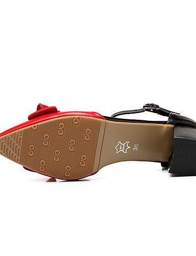 WSS 2016 Chaussures Femme-Bureau & Travail / Habillé-Noir / Rouge / Amande-Gros Talon-Talons / Confort / Bout Pointu-Talons-Nappa Leather red-us6.5-7 / eu37 / uk4.5-5 / cn37