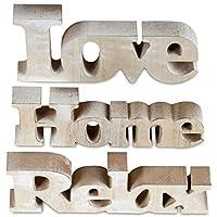 3er Set de letras de madera de soporte de inicio de relax - amor de las letras de la imagen de la decoración de decoración