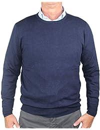 1stAmerican Pullover Soie et Cachemire col Ras du Cou pour Homme - Tricot  d hiver ceffaf57abf2