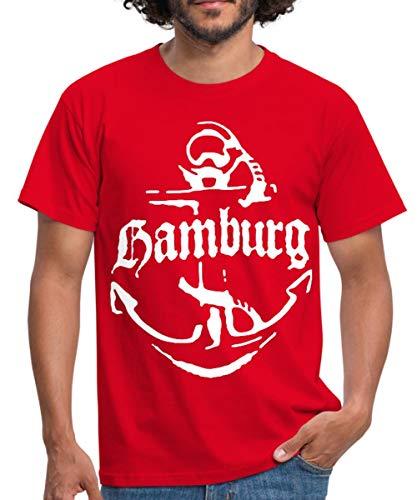 Spreadshirt Hamburg Anker Männer T-Shirt, L, Rot