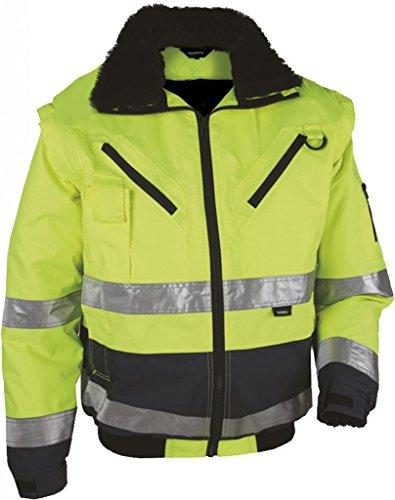 """4 in 1 Warnschutz-Pilotenjacke """"THOSA"""", Grösse XL, abnehmbare Ärmel, herausnehmbares Fell, wasserdicht, gelb"""