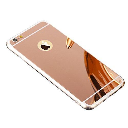 Coque Miroir Silicone TPU pour Apple iPhone 5 5S SE, Aohro Ultra Mince Soft TPU Bumper Housse Étui de Protection Mirror Effect Back Cover Case - Or Rose