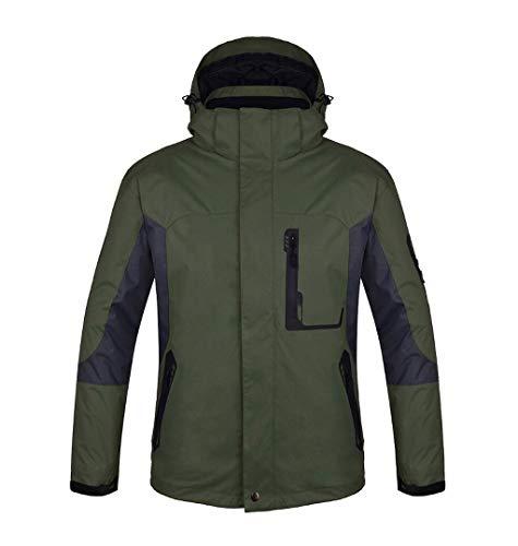 ZJEXJJ Herren Outdoor-DREI-in-One-Jacke Zweiteilige wasserdichte Jacke wandern Skianzug (Farbe : Green, größe : M)