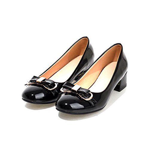 AllhqFashion Damen Rund Zehe Ziehen Auf Pu Leder Eingelegt Niedriger Absatz Pumps Schuhe Schwarz