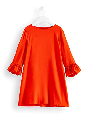 RED WAGON Mädchen Kleid mit Rüschen, Orange (Pureed Pumkin), 116 (Herstellergröße: 6 Jahre)