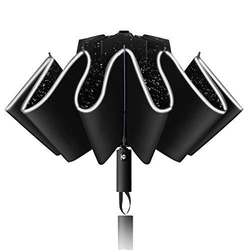 Ombrello invertito yoophane ombrello antivento ombrello ribaltabile compatto compatto con striscia riflettente 10 costole ombrello da viaggio portatile apri e chiudi auto per donna e uomo