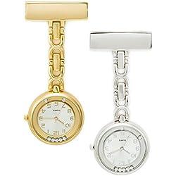 SEWOR Unisex Floating Diamond Hanging Pocket Watch Gold & Sliver 2pcs With Brand Leather Gift Box